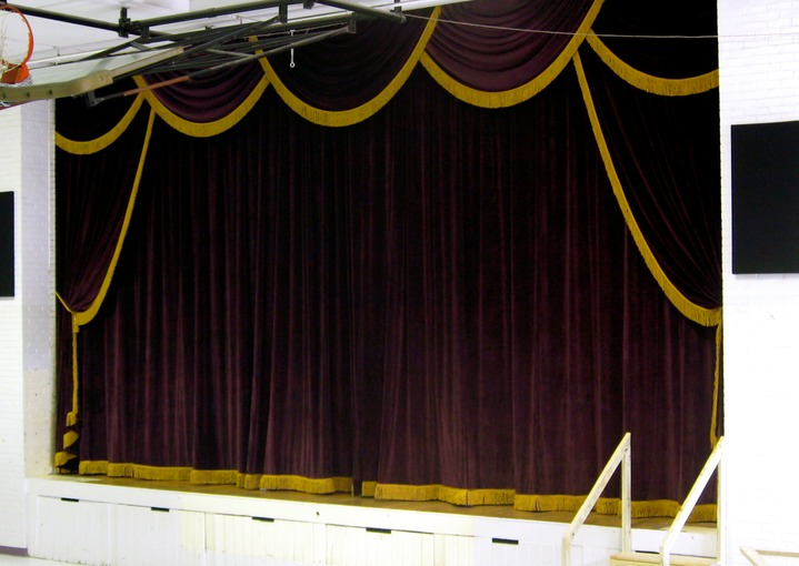 ... and Main Drapes with Antique Gold Fringe | Morgan Theatrical Draperies